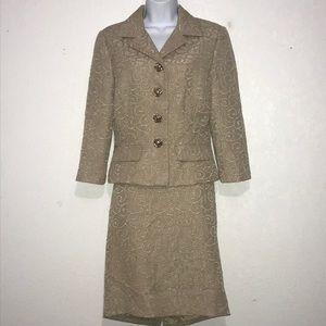 2Pc Maggy London Textured Beige Skirt Jacket Suit